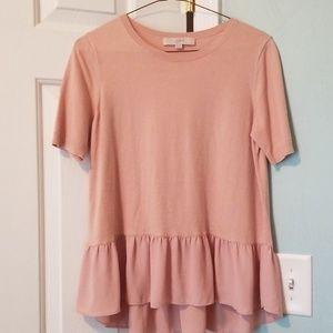 Ballet Pink Loft Sweater with Flowy Peplum